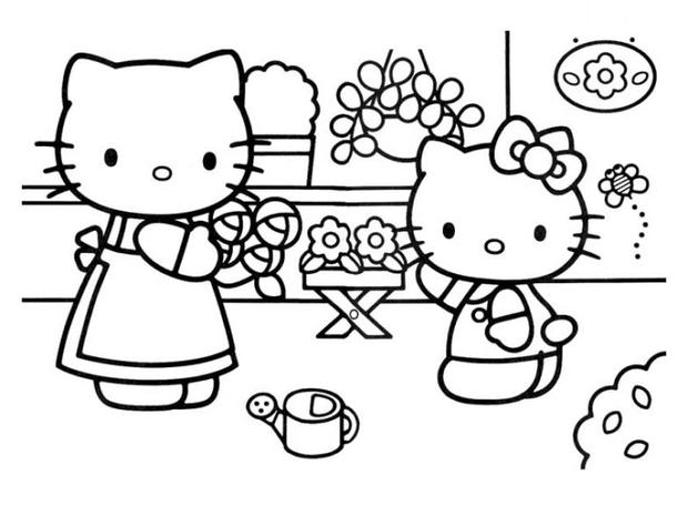 Hello Kitty with her mother coloring page