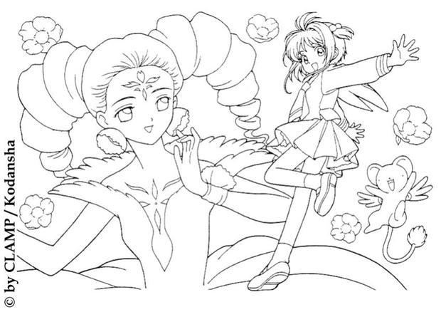 Sakura and the princess coloring page