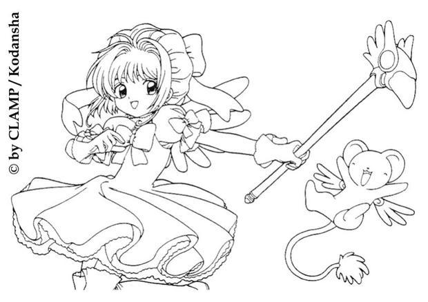 sakura and her friends sakura with kereberus the card guardian coloring page - Cardcaptor Sakura Coloring Pages