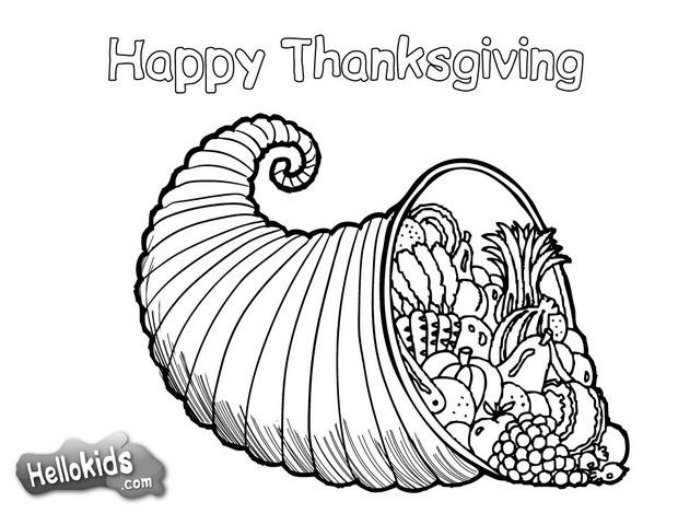 Thanksgiving cornucopia coloring pages - Hellokids.com