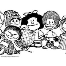 Mafalda's friends coloring page