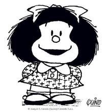 Mafalda with a big smile coloring page