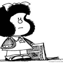 Mafalda with a newspaper