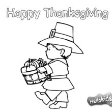 Pilgrim Boy With A Thanksgiving Basket Coloring Pages Hellokids Com