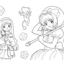 sakura the card captor the card captor kereberus and tomoyo daidouji coloring page - Cardcaptor Sakura Coloring Pages