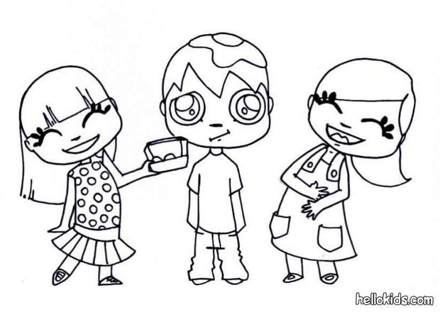 Kids Playing With Eggs Coloring Pages