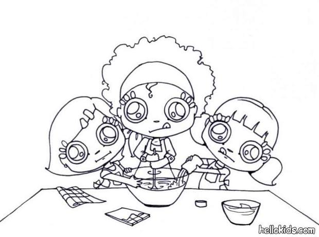 Little Chefs Making Whipped Cream Coloring Pages