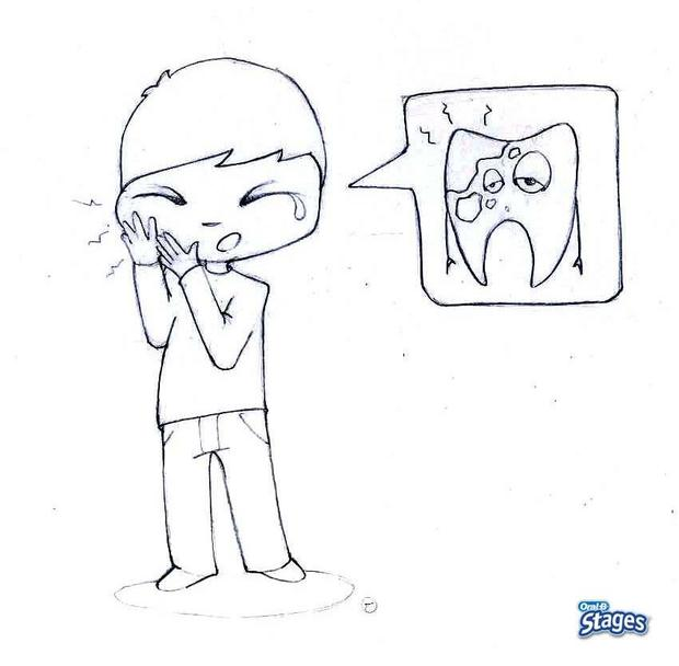 Toothache coloring page