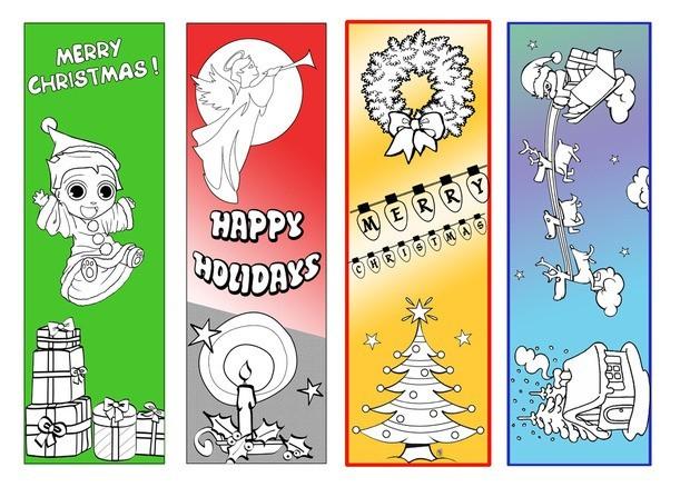 Half-colored Christmas bookmark