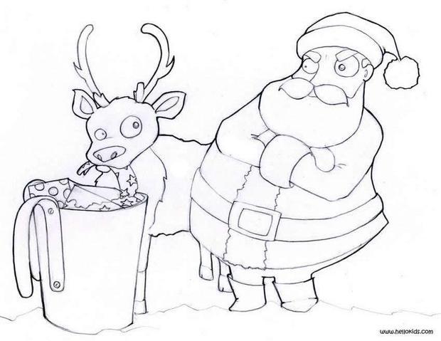 Santa is feeding his reindeer coloring pages  Hellokidscom