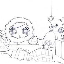 Christmas shop window coloring page