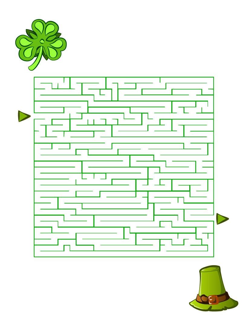 Green Hat and Shamrock printable worksheet
