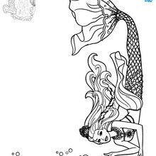 Mermaid coloring pages drawing for kids free kids for Barbie the pearl princess coloring pages