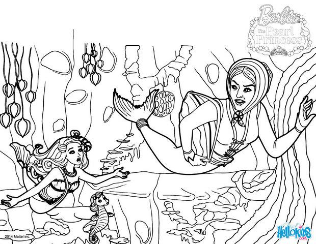 Scylla goes to the castle coloring pages for Barbie the pearl princess coloring pages