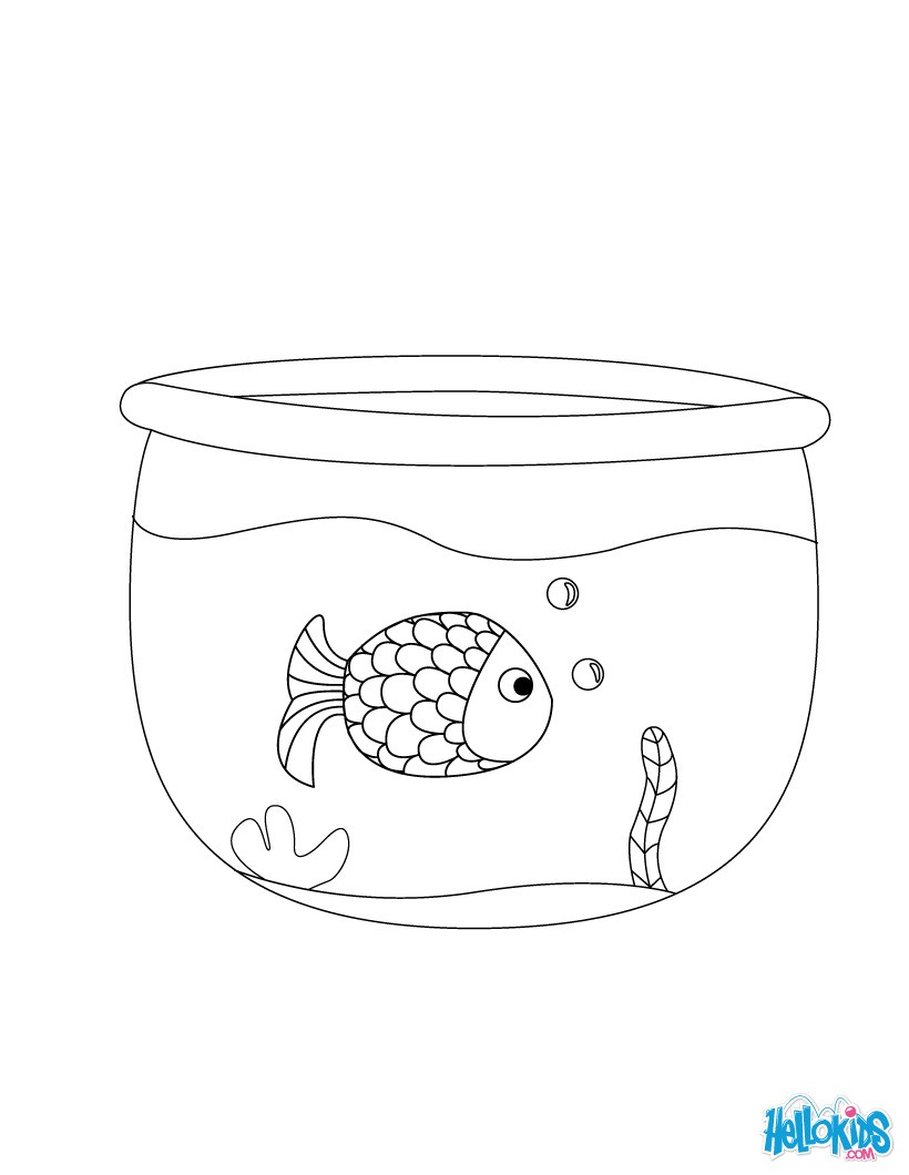 Like a fish in a bowl coloring page
