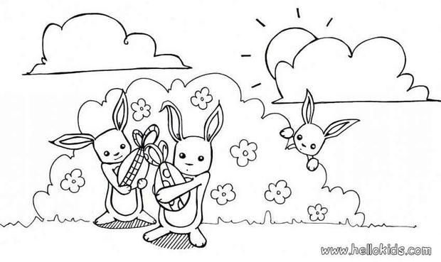 Bunnies fond of chocolate eggs coloring page