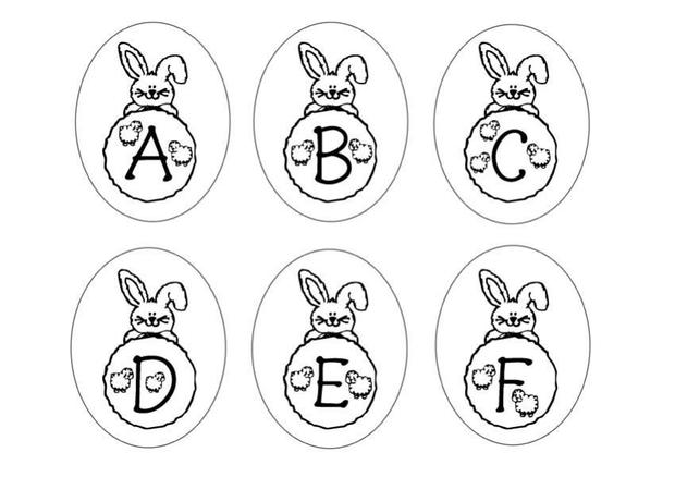 Bunny Letters: ABCDEF coloring page