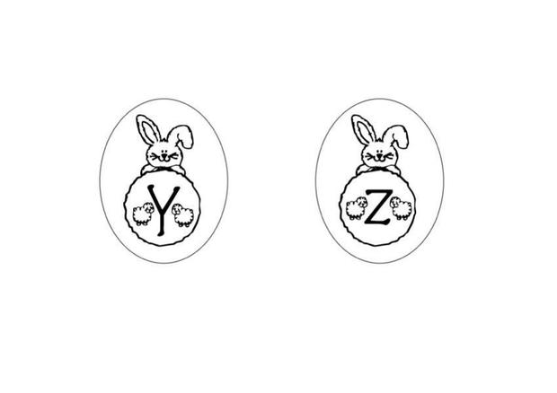 Bunny Letters: YZ coloring page