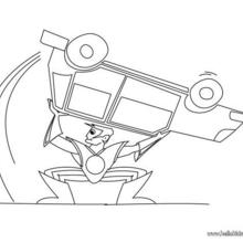 Superhero with car coloring page