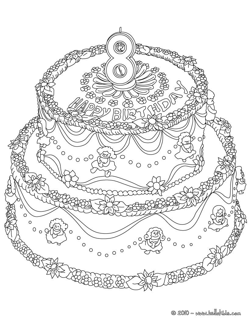Birthday cake 8 years coloring page