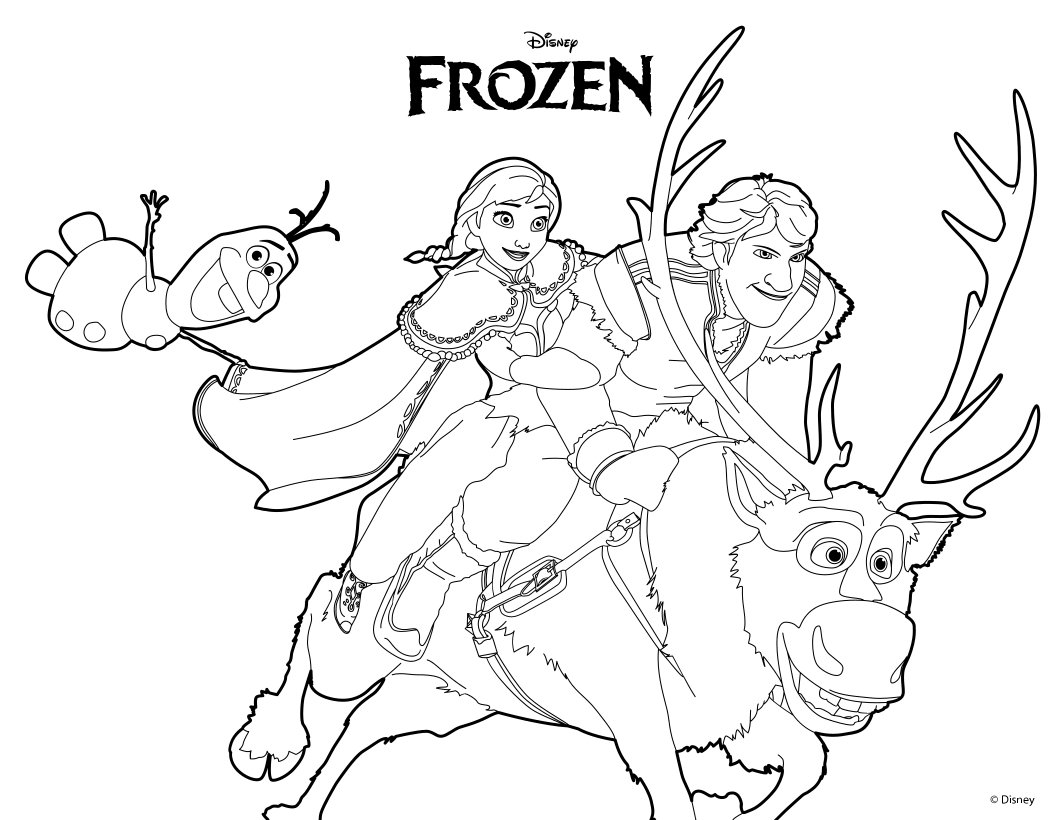 Ana Olaf Kristoff Coloring Pages Hellokids Com