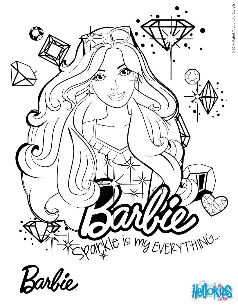 barbie portrait coloring pages hellokids com
