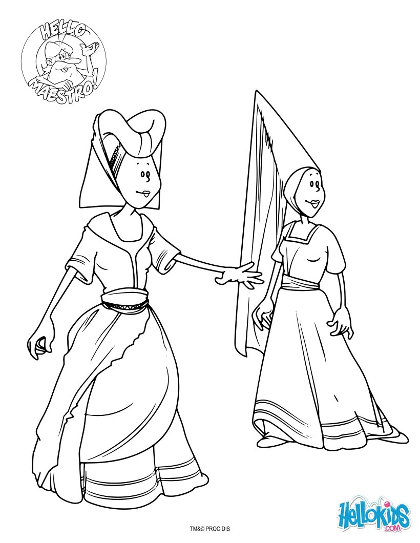 Woman in the middle ages coloring pages for Middle ages coloring pages