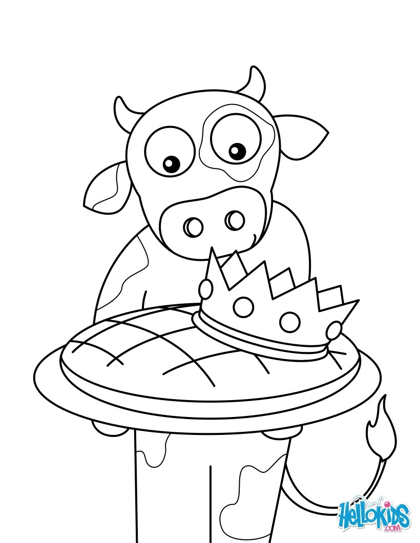 A cow and her kings cake coloring