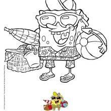 Bob l'éponge à la plage coloring page