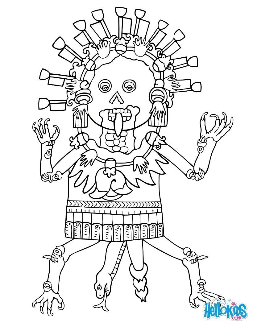 mictlantecuhtli coloring pages hellokids com