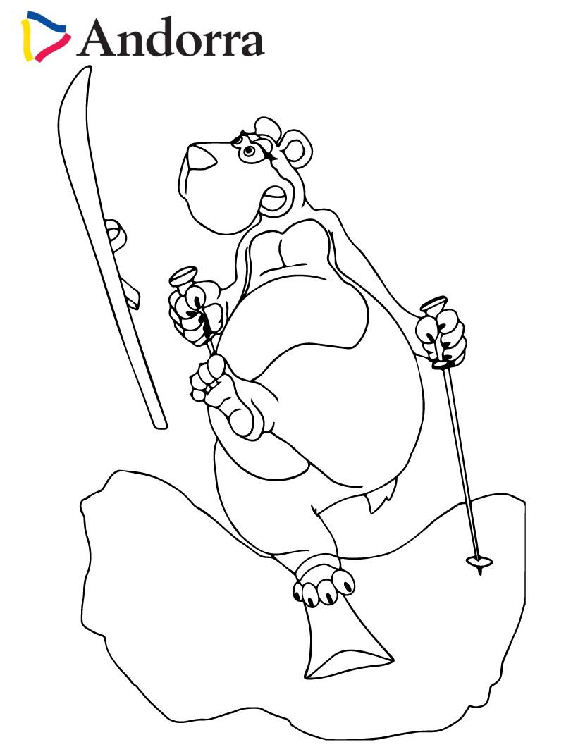 Brown Bear skiing coloring page