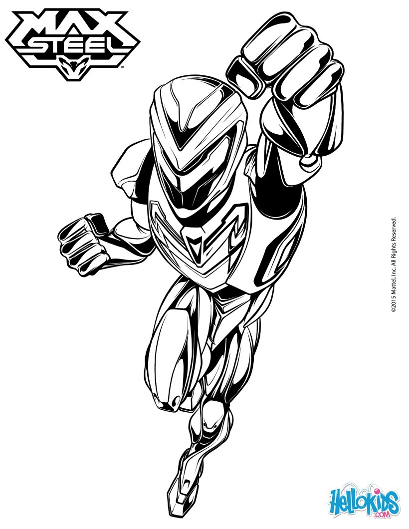Superhero Turbo Max Steel Coloring Pages Hellokids Com