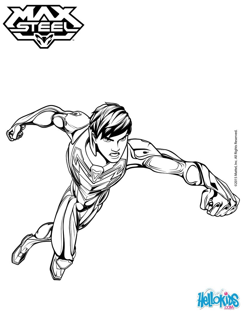 Max steel without his helmet coloring pages - Hellokids.com