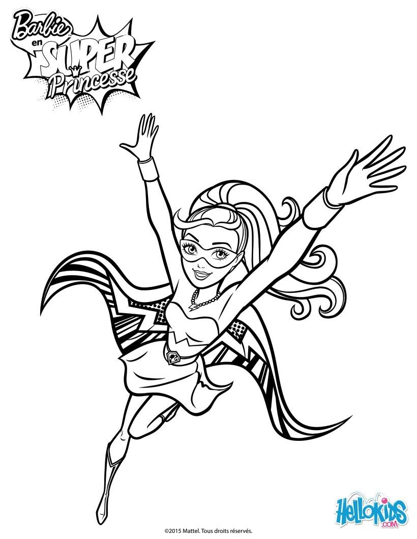 Barbie Super Hero Coloring Pages Hellokids Com