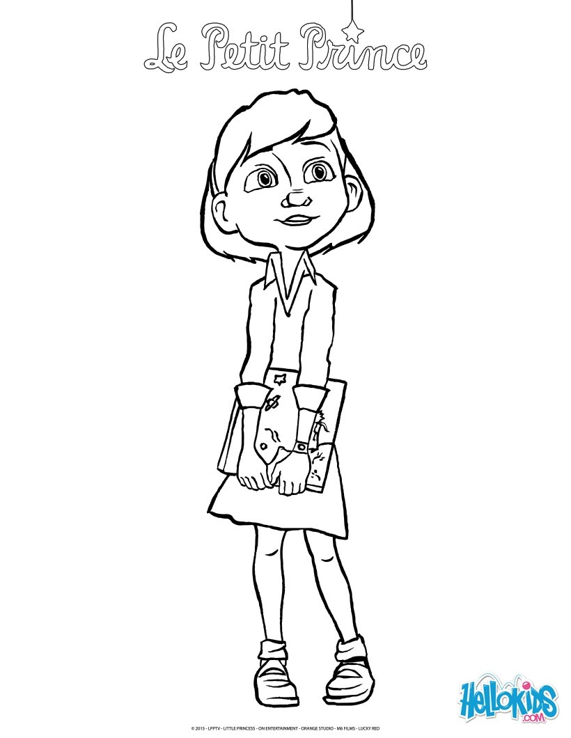 The little Girl and the Little Prince Book coloring page