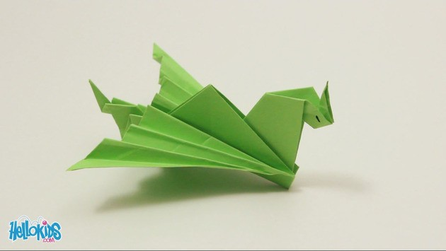 How to make a paper dragon (dinosaur). 3D origami tutorial - YouTube | 355x630