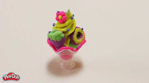 Ice Cream Sundae Plasticine craft for kids