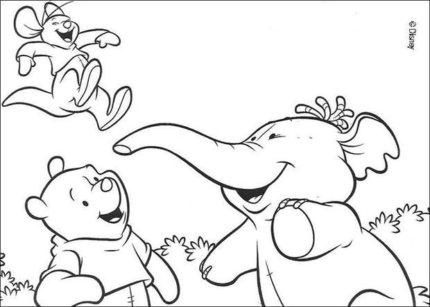 Winnie the Pooh, Lumpy and Roo coloring page