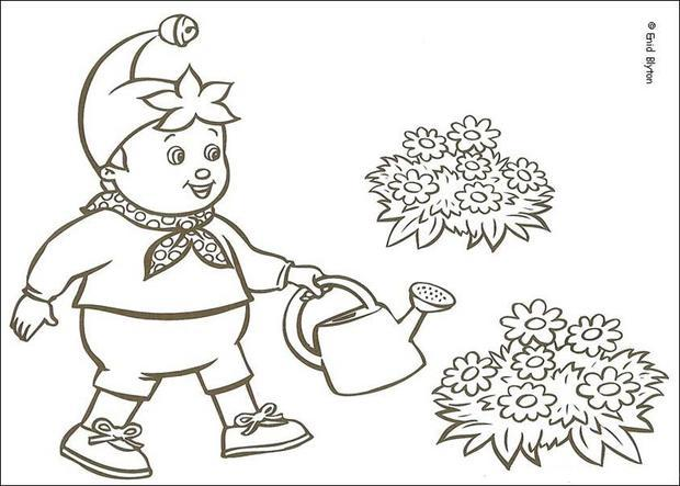 Noddy Watering Flowers coloring page