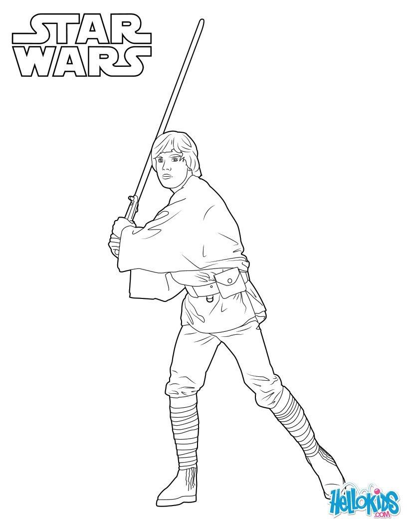 Luke Skywalker Coloring Pages Hellokids Com