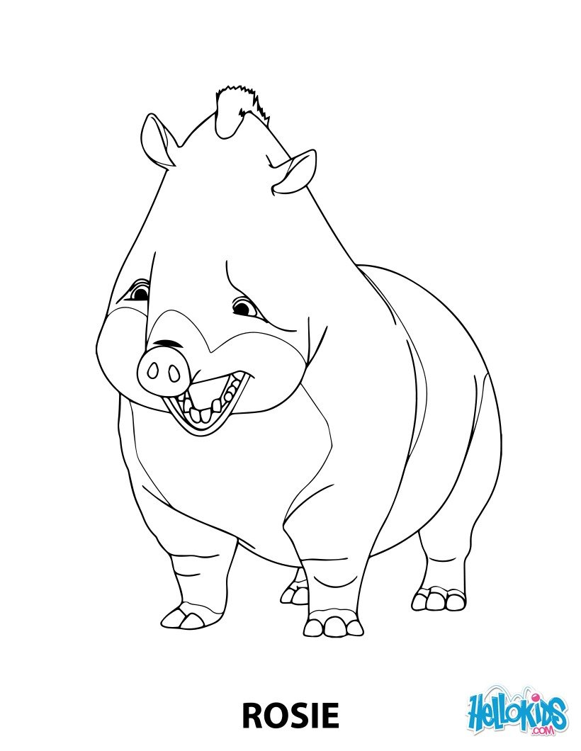 Rosie the boar from Robinson Crusoe coloring page