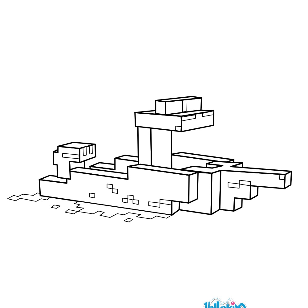 minecraft boat coloring pages hellokids com