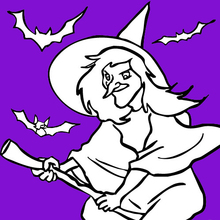 Witch flies with bats
