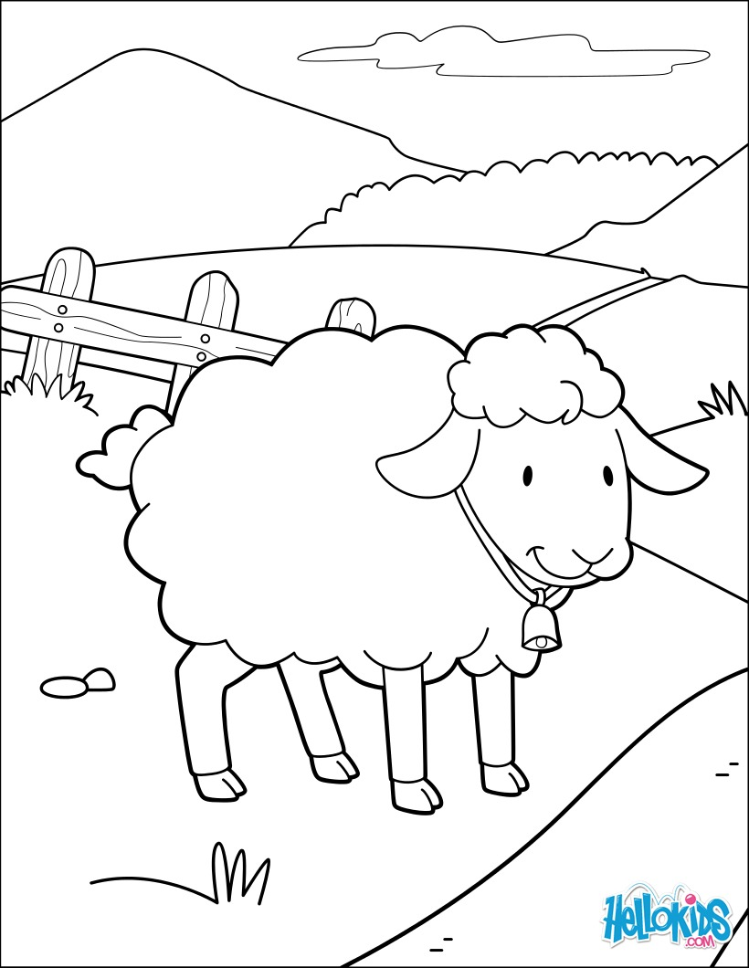 Miss Sheep Happy coloring page