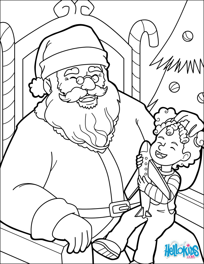 Santa's having a laugh coloring page