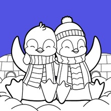 Valentine's day Penguins coloring page