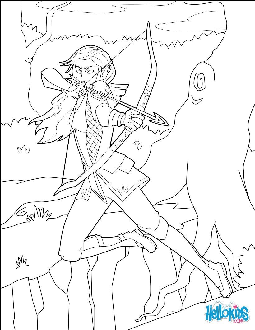 Archer Elf coloring page