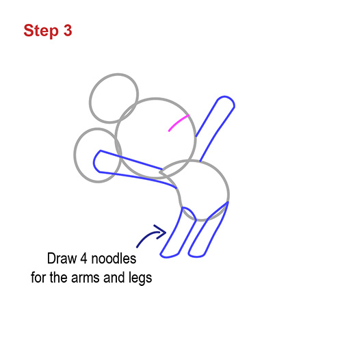 how to draw noodles step by step