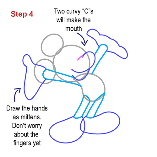 lets give mickey his hands by drawing them as mittens dont worry about the fingers yet two curvy cs will make the mouth