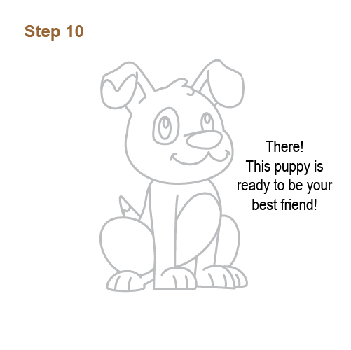 how to draw a puppy step by step for kids